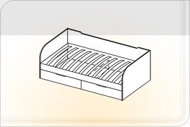 Элементы корпусной детской мебели «Мозаика» - Кровать с ящиками. КЯ