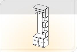 Элементы корпусной мебели для прихожей «Ника» - Вешалка с полками. ВП
