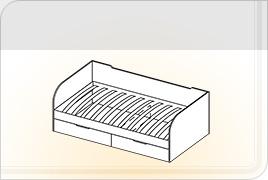 Элементы корпусной детской мебели «Забава» - Кровать с ящиками. КЯ